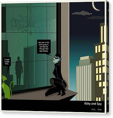 Kitty And Spy Panel 4 Canvas Print by Kate Paulos