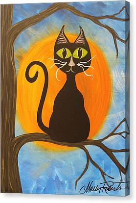 Kitty Of The Night Canvas Print by Molly Roberts