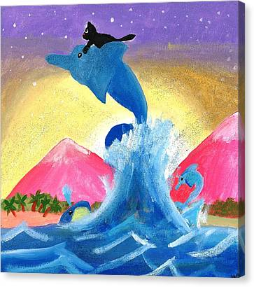 Kitty On A Dolphin Canvas Print by Artists With Autism Inc