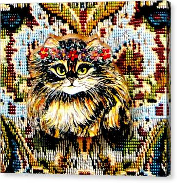 Kitty Wooden Pin Canvas Print by Natalie Holland
