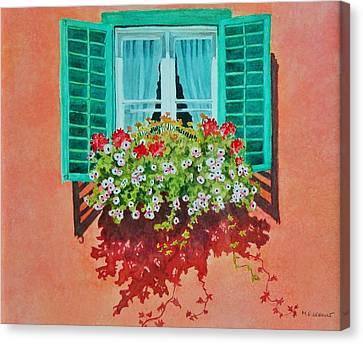 Kitzbuhel Window Canvas Print by Mary Ellen Mueller Legault