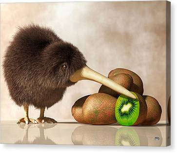 Kiwi Bird And Kiwifruit Canvas Print by Daniel Eskridge