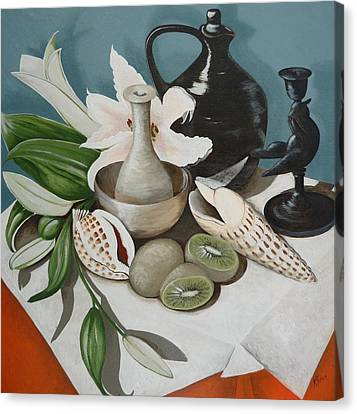 Canvas Print featuring the painting Kiwifruit by Helen Syron
