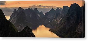 Kjerkfjorden Among Dramatic Mountain Canvas Print