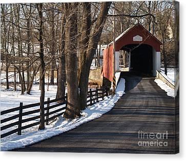 Knecht's Bridge On Snowy Day - Bucks County Canvas Print by Anna Lisa Yoder
