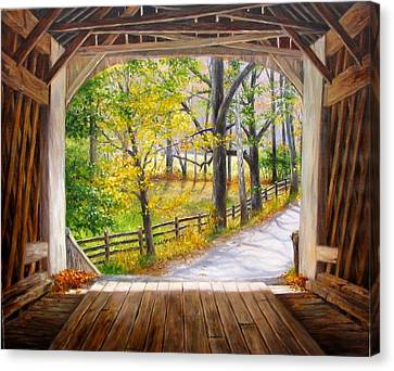 Knecht's Covered Bridge Canvas Print by Helen Lee Meyers