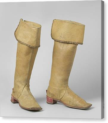 Knee High Boot From Yellow Cow Leather, With Gold Braid Canvas Print