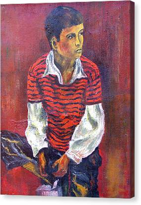 Canvas Print featuring the painting Kneeling Boy by Walter Fahmy