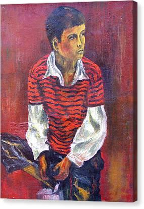Kneeling Boy Canvas Print by Walter Fahmy