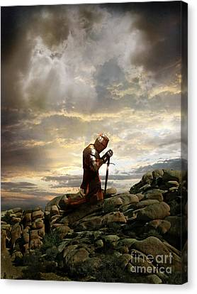 Kneeling Knight Canvas Print by Jill Battaglia