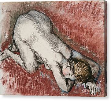 Kneeling Nude Woman Canvas Print by Edgar Degas