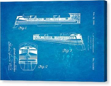 Knickerbocker Locomotive Patent Art 1939 Blueprint Canvas Print by Ian Monk