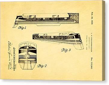 Knickerbocker Locomotive Patent Art 1939 Canvas Print by Ian Monk