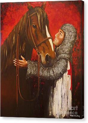 Knight And Horse Canvas Print