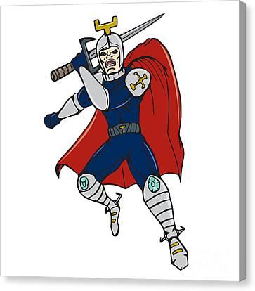 Knight Brandishing Sword Cartoon Canvas Print by Aloysius Patrimonio