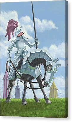 Knight In Shining Armour On Horesback Canvas Print by Martin Davey