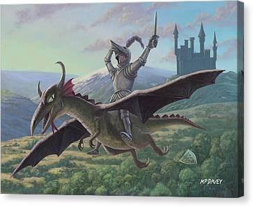 Knight Riding On Flying Dragon Canvas Print