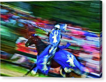 Knight With Armor Riding A Horse Canvas Print