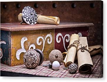Shelf Canvas Print - Knobs And Such Still Life by Tom Mc Nemar