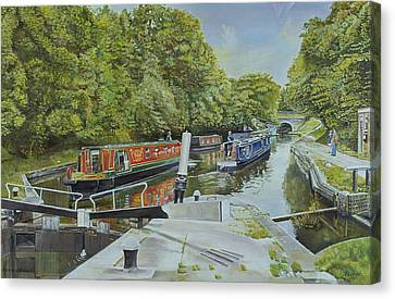Towpath Canvas Print - Knowle Top Lock, 2003 Oil On Canvas by Kevin Parrish