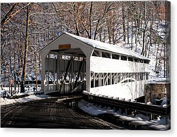 Knox Bridge In The Snow Canvas Print by Michael Porchik