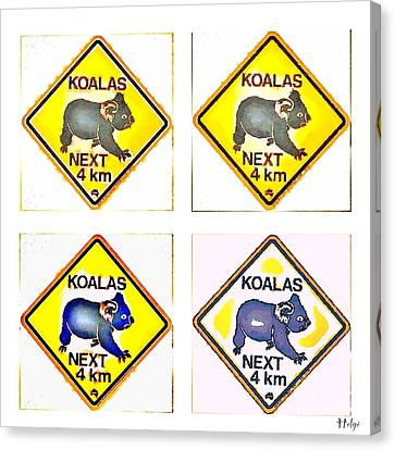 Koalas Road Sign Pop Art Canvas Print