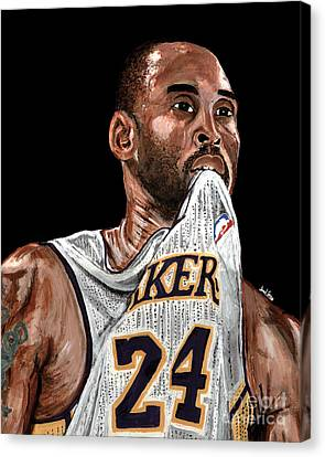 Kobe Bryant Biting Jersey Canvas Print by Israel Torres