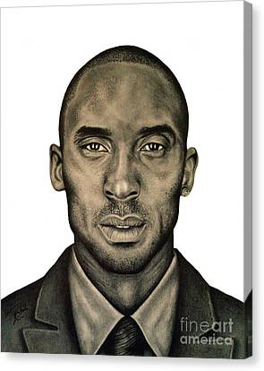 Kobe Bryant Black And White Print Canvas Print by Rabab Ali
