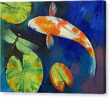Coy Canvas Print - Kohaku Koi And Dragonfly by Michael Creese