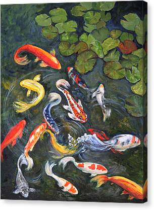 Canvas Print featuring the painting Koi Among The Lily Pads by Sandra Nardone