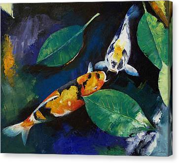 Koi And Banyan Leaves Canvas Print by Michael Creese