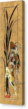 Koi And Cattails Canvas Print