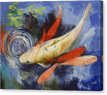 Coy Canvas Print - Koi And Water Ripples by Michael Creese