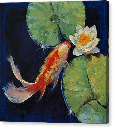 Koi And White Lily Canvas Print