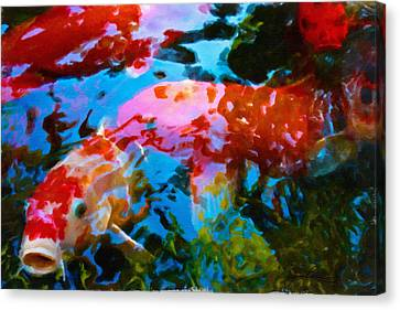Canvas Print featuring the painting Koi Fish by Joan Reese