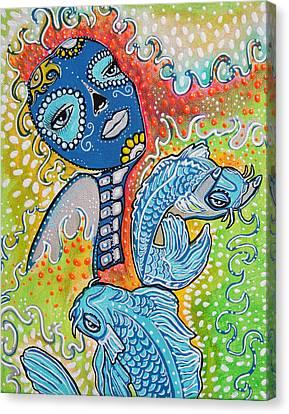 Koi Fish Sugar Skull Canvas Print by Laura Barbosa