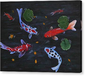 Canvas Print featuring the painting Koi Fishes Original Acrylic Painting by Georgeta  Blanaru
