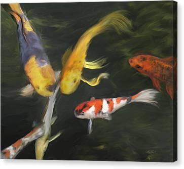 Koi Four Canvas Print by Ann Powell