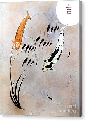 Koi Hikarimono Utsurimono Chinese Good Luck Canvas Print by Gordon Lavender