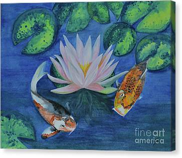 Canvas Print featuring the painting Koi In The Lily Pond by Suzette Kallen