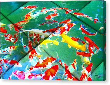 Canvas Print featuring the digital art Koi Mosaic II by Manny Lorenzo