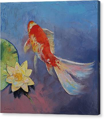 Coy Canvas Print - Koi On Blue And Mauve by Michael Creese