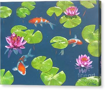 Koi Pond Canvas Print by Elisabeth Olver