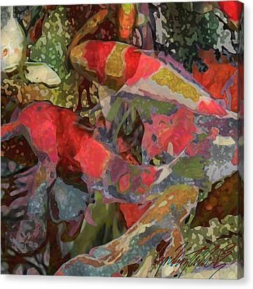 Koi Pond - Square Canvas Print by Lyn Voytershark