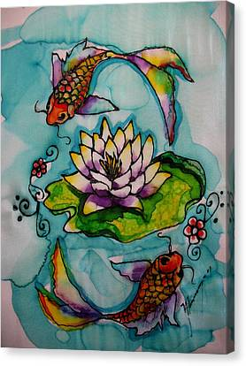Koi Pond Canvas Print by Yvonne Feavearyear