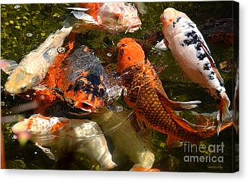 Canvas Print featuring the photograph Koi Rising by Susan Wiedmann