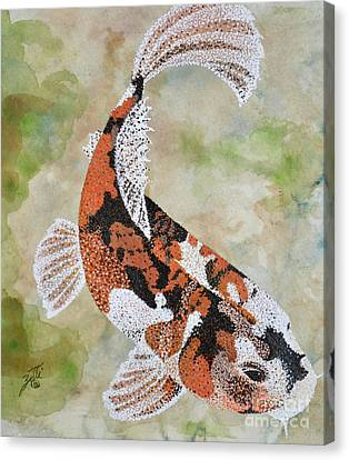 Canvas Print featuring the painting Koi by Suzette Kallen
