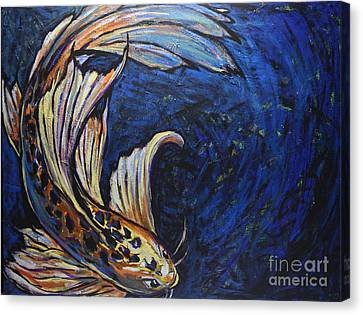 Koi Swirl Canvas Print by Becca Lynn Weeks