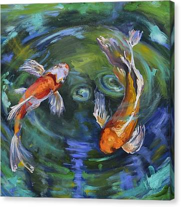 Koi Swirl Canvas Print by Donna Tuten