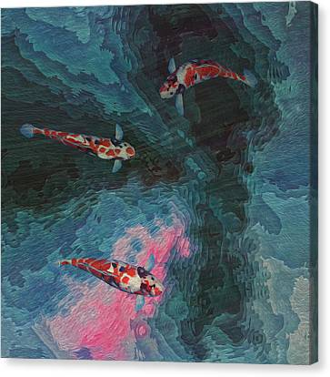 Koi Water Garden  Canvas Print by Jack Zulli